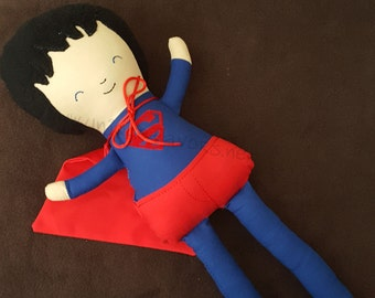 """Custom Handmade Superhero 18.5"""" or 15"""" Doll with accessories! Superman Inspired. Each is unique, one of a kind! Fully washable!"""
