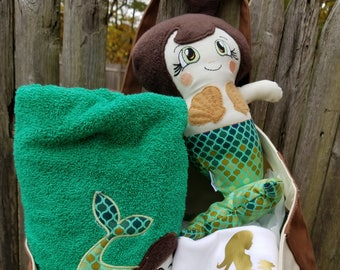 """Custom Handmade Mermaid XL 18"""", LG 15"""" or Med 11"""" Doll or Gift set. Each is unique, one of a kind! Fully washable! Choose options!"""
