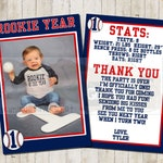 Personalized  Rookie of the Year Baseball theme Thank You with photo. Double sided. FILE DOWNLOAD only printable.