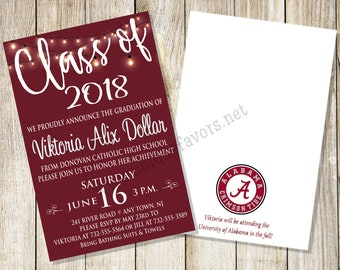 Personalized Graduation invitation. Second side printing free, 2 sizes available. PRINTED & SHIPPED full service Choose background color