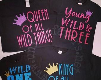 Jung, Wild und drei! Geburtstag Themen Hemden!