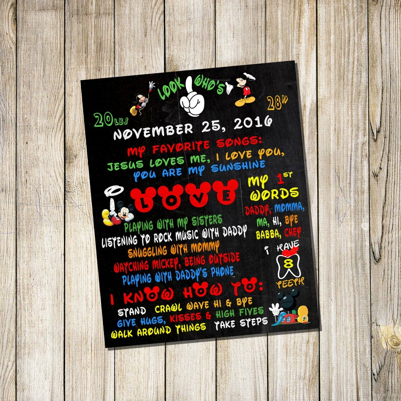 Personalized Birthday Chalkboard Sign Poster Any age and image 0