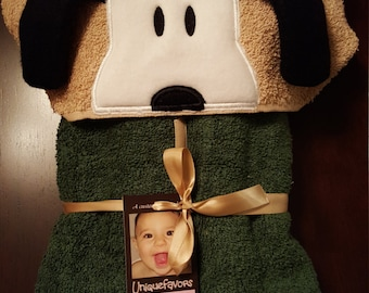 Peanut Dog inspired hooded towel with optional Personalization