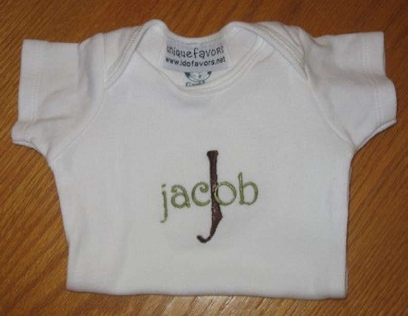 Short sleeved Onesie Personalized with Name and Initial or image 0