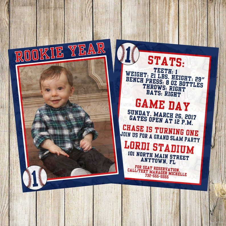 Personalized Rookie Year Baseball theme invitation with photo. image 0