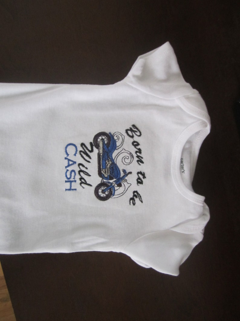 Onesie or Bib Born to Be Wild Motorcycle Add Name FREE image 0