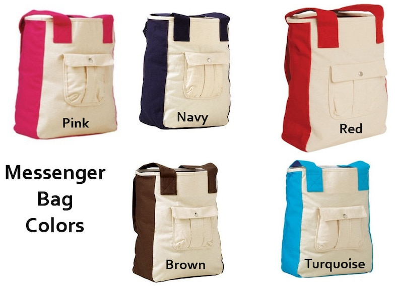 PERSONALIZED Large Canvas Messenger Tote Bag with Embroidery image 0