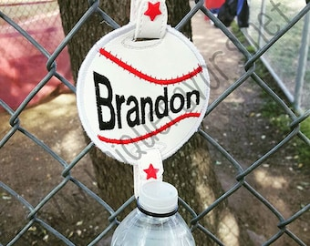 Baseball Water Bottle Holder with Personalization! Many other uses and sports available. Perfect to hang on the fence at the field! Durable!