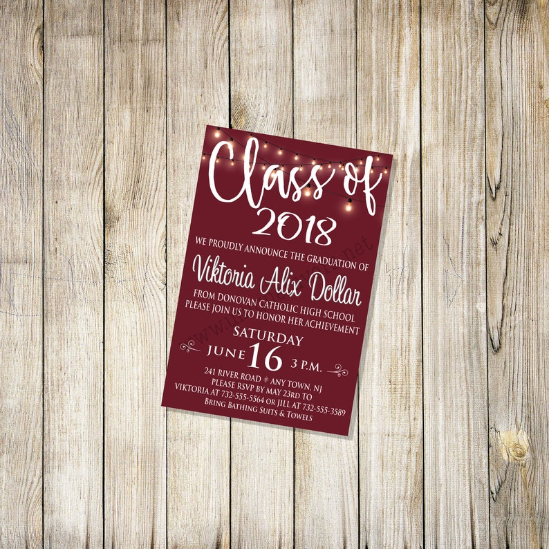 Personalized Graduation invitation. Graduate announcement image 0