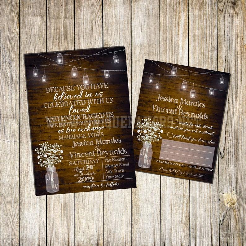 Rustic Custom Wedding Invitation  optional RSVP Card. Printed image 0