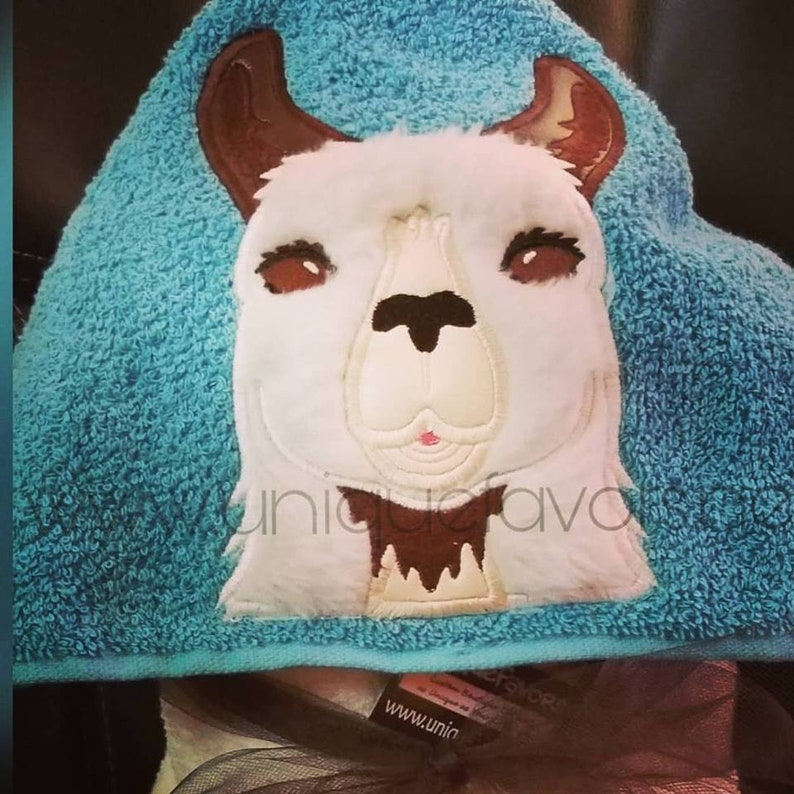 Llama or Alpaca hooded towel with optional Personalization image 0