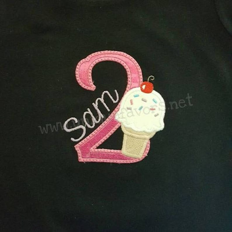Custom Ice Cream Birthday or Initial Applique T-shirt or image 0