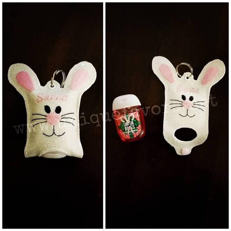 Bunny Hand sanitizer holder. Great for backpacks purses image 0