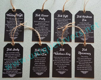 Wedding Gift, Bridal Shower, Poem Wine Tags Printable and Personalized - 8 Tags included DIGITAL FILE ONLY