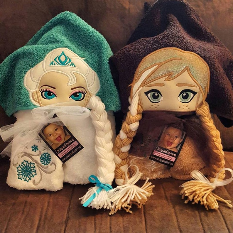 Frozen Princess and Queen Inspired Hooded Towels with optional image 0
