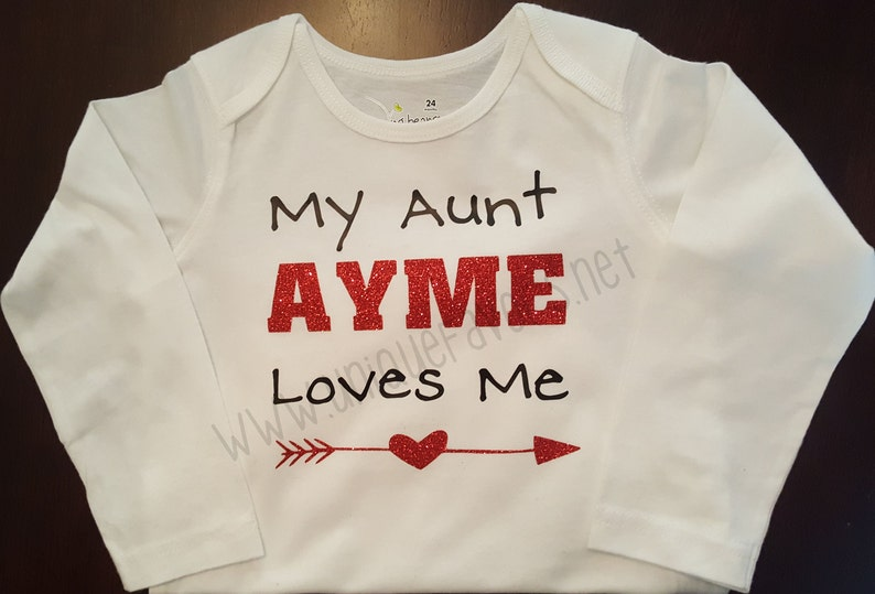 My Aunt loves me custom design for Babies Glitter and other image 0