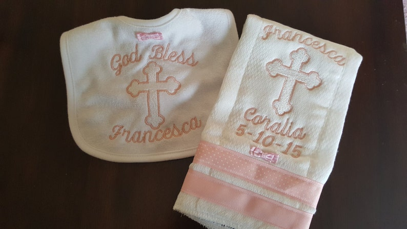New Design Baby Baptism or Christening Gift Embroidery Bib image 0