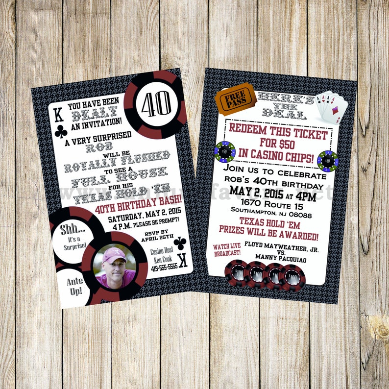 Personalized Poker Adult theme invitation with photo. Double image 0