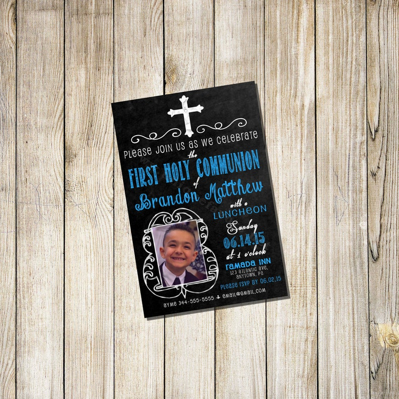 Personalized  Communion Invitations Boy or Girl Chalkboard image 0