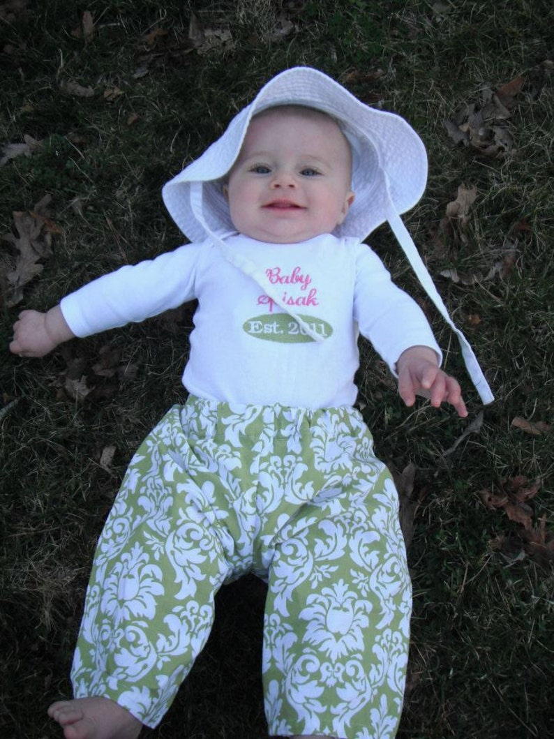 Baby Established Onesie and Handmade Lounge Pants Personalized image 0