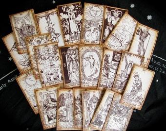 Mini Pocket Tarot Cards, Sepia, 22 MAJOR ARCANA ONLY