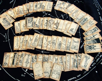 SMALL size Antiqued Pocket Tarot Card Deck- Complete 78-Card Set