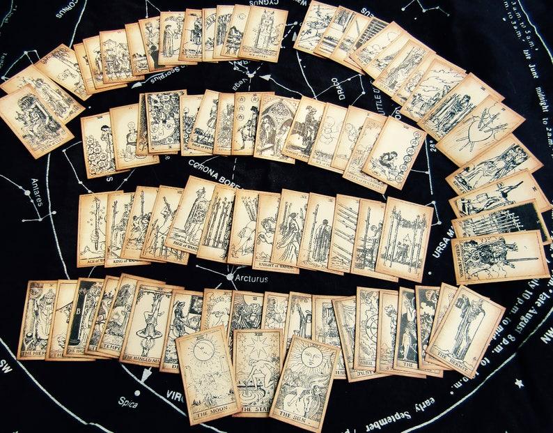 MINI Antiqued Tarot Card Deck SEPIA Complete 78-Card Set image 0