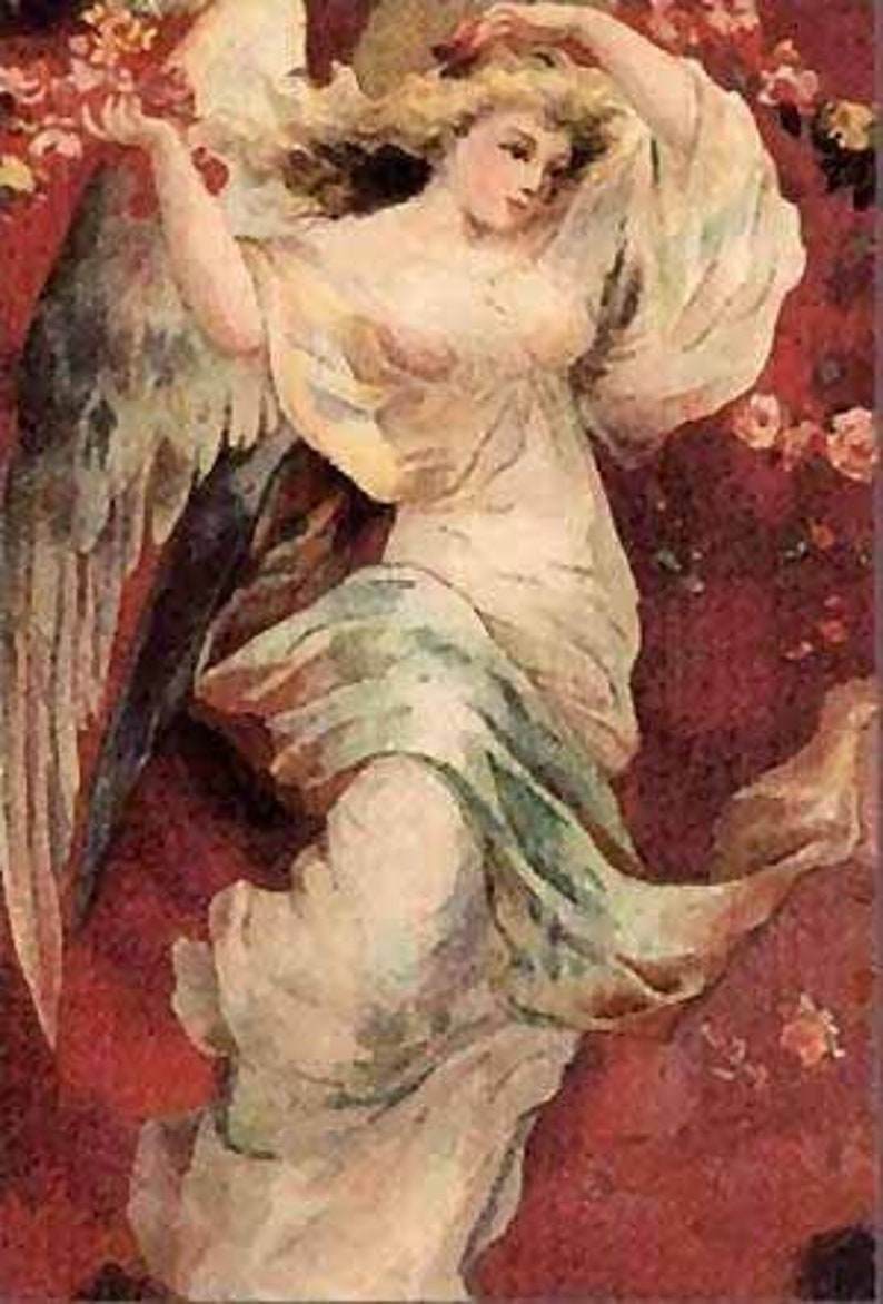 Art On Silk Glorious Guardian Angel Renaissance Style Rusty Red Floral Crazy Quilt Silky Fiber Arts Applique Collage