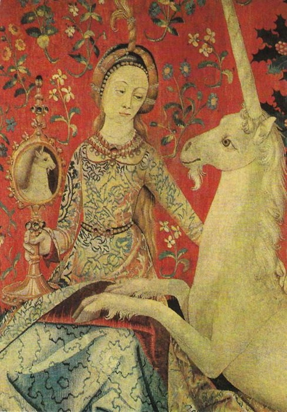 art print on silk medieval lady showing the unicorn what he etsy