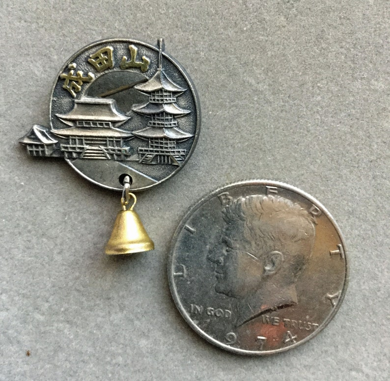 Buddhist Temple Souvenir pin from Narita Mountain with bell