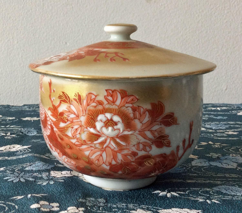 vintage kutani japan large tea cup with lid peacock and etsy. Black Bedroom Furniture Sets. Home Design Ideas
