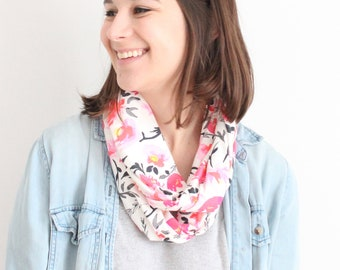 Infinity Scarf - Organic Cotton Jersey  - Pink Floral Pattern
