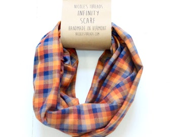 Infinity Scarf - Plaid - Flannel - Oversized - Buffalo Plaid - Sunset Flannel - Warm - Winter - Cozy - Unisex - Gray