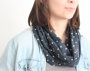Infinity Scarf - Organic Cotton Jersey  - Navy + Gray, Silver Triangle Pattern