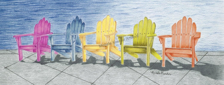 Colored Pencil Art Print Beach Chairs Wall | Etsy