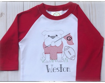 Personalized embroidered Boys or Girls Bulldog Shirt, Boys clothes, Girls clothes, Toddler Football Shirt, Boy Birthday Gift, Football Game