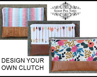 DESIGN YOUR OWN Clutch / You choose fabric and faux leather