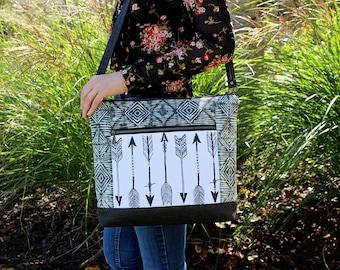 Southwestern Navajo Arrows fabric Bag with vegan Leather