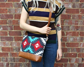 Navajo Fabric Southwestern Bohemian Bag with Faux Leather Strap Tassel