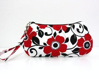 Red Floral Wristlet