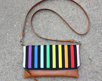 Rainbow stripe fold over clutch / Vegan Leather Clutch / Strap included