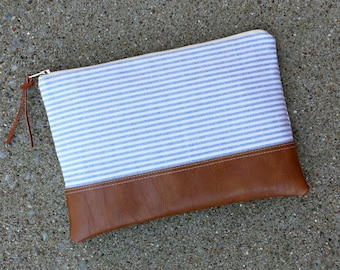 Light Blue and Ivory Striped Canvas Clutch