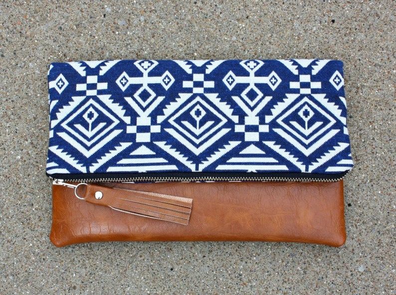 Blue Bohemian tribal Foldover Clutch image 0