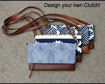 DESIGN YOUR OWN Foldover Clutch / You choose fabric and faux leather