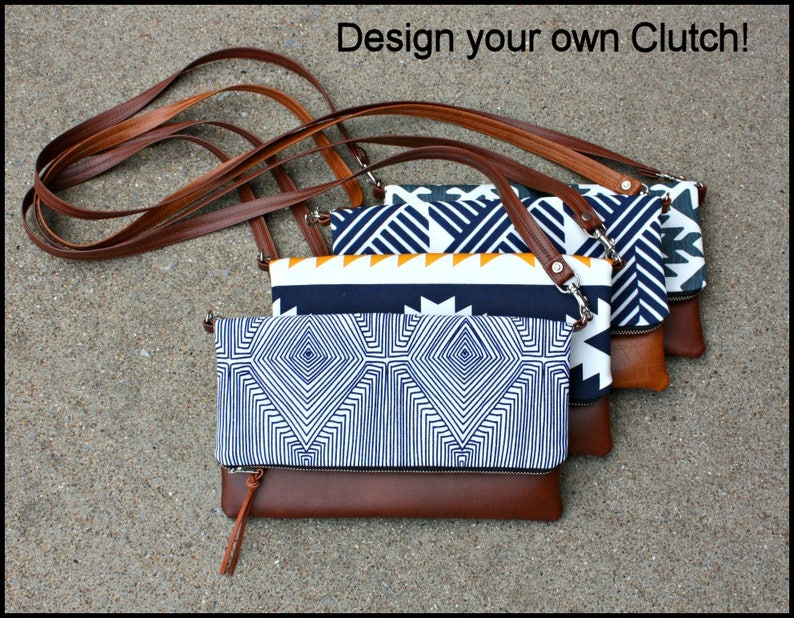 DESIGN YOUR OWN Foldover Clutch / You choose fabric and faux image 0