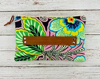 Springtime floral Clutch / Wrist handle