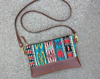 """Tribal Bohemian Fabric Clutch with 48"""" strap"""