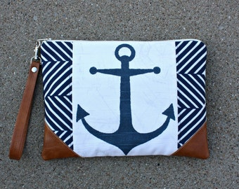 Nautical Navy Blue Clutch with Anchor