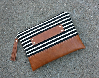 """Black and Ivory Striped Canvas Clutch / Kindle Case / 10 1/2""""W x 7 1/2""""H / Hand Handle"""