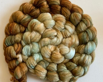 Hand Dyed roving wool 4ozs polwarth mulberry silk 70/30 ready to ship shimmer